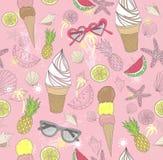 Nettes Sommerauszugsmuster Nahtloses Muster mit Eiscreme Stockfotografie