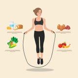Nettes sportliches Mädchen, das mit Springseil springt Kreative flache Artdesignillustration Sporttraining, gesundes Lebensmittel Stockbild