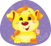 Nettes Symbol des chinesischen Horoskops - gelber Hund Lizenzfreies Stockfoto