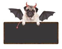 Nettes teuflisches Pughündchen kleidete oben für Halloween an und hielt das leere Zeichen, lokalisiert auf weißem Hintergrund stockbild