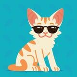Nettes Tier des Zeichens illustration Vector Illustration der kühlen Miezekatze in der Sonnenbrille auf blauem Hintergrund Emoji  stock abbildung