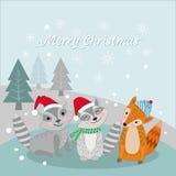 Nettes Tier im Winter für Weihnachtskarte stock abbildung