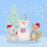 Nettes Tier im Winterweihnachtskartenentwurf stock abbildung