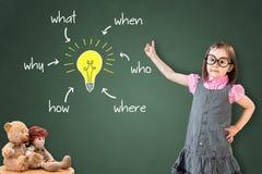 Nettes tragendes Geschäftskleid des kleinen Mädchens und Analysieren der Problem- und Entdeckungslösung, auf grünem Kreidebrett Stockbilder