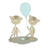 Nettes trauriges Katzenschreien Lächelnde Karikaturkatze, die mit Ballon steht Stockfotos