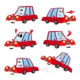 Nettes und lustiges rotes Auto, Automobilcharakter, der verschiedene Gefühle zeigt Stockfoto