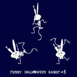Nettes und lustiges skeleton Kaninchen in den verschiedenen Haltungen: Tätigkeit, Tanz, Yoga, gymnastisch Überlagert, einfach zu  Stockbilder