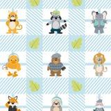 Nettes und lustiges Tierhintergrundmuster Stockbilder