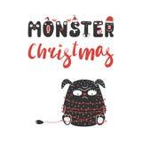 Nettes und lustiges Weihnachtsmonster lizenzfreie abbildung