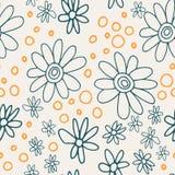 Nettes und modisches Blumenvektormuster mit Tulpen, Mohnblumenblumen und Beeren Stockbild