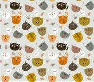 Nettes Vektormuster mit lustigen Miezekatzen Stockbilder