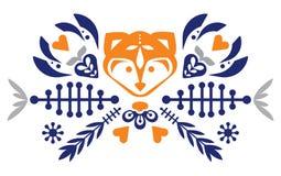 Nettes Volksvolksmuster mit Fuchs und Blumen Kopiertes Herz Maskottchen zeichen vektor abbildung