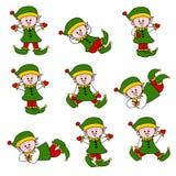 Nettes Weihnachtself-Set Stockbild