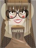 Nettes Wintermädchen mit Kaffee stock abbildung