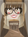 Nettes Wintermädchen mit Kaffee Lizenzfreies Stockbild