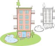 Nettes Wohngebäude mit Pool Stockfotos
