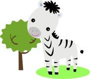 Nettes Zebra und Baum Lizenzfreies Stockbild