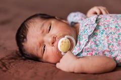 Nettes zwei-Wochen-altes neugeborenes Baby mit einem Friedensstifter Stockfotografie