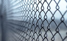 The Netting. The grid which has become covered with hoarfrost from cold of autumn morning Stock Image