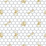 Netting outline seamless pattern with gold glitter insects. Stock Photos