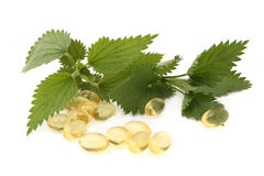 Nettle capsules Royalty Free Stock Photo
