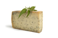 Nettle cheese. And leaves on white background royalty free stock image