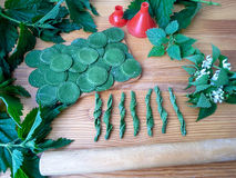 Nettle green pasta. Cooking nettle green pasta with wild plants stock image