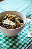 Nettle orzotto. With pearl barley, beer and brie royalty free stock images