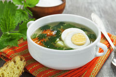 Nettle soup with egg Stock Photography