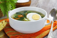 Nettle soup with egg Royalty Free Stock Photo