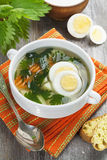 Nettle soup with egg Royalty Free Stock Images