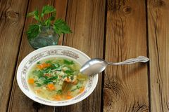 Nettle soup with eggs in white plate with fresh nettle and spoon Royalty Free Stock Photos