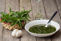 Nettle soup with garlic Royalty Free Stock Photo