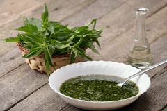 Nettle Soup In A White Bowl Stock Photography