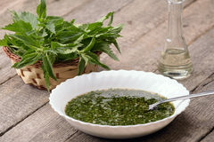 Nettle Soup In A White Bowl Royalty Free Stock Photos