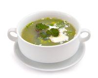 Nettle and sour cream soup. Stock Photo