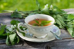 Nettle tea. Fresh nettle tea on wooden background royalty free stock image