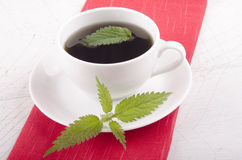 Nettle tea in a white cup Royalty Free Stock Photos