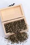 Nettle tea in a wooden box retro Royalty Free Stock Image