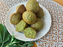 Nettles green muffins with ginger and cardamom Royalty Free Stock Images