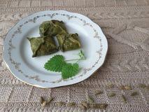 Nettles samsa πιτών ριπών, πράσινη ζύμη Στοκ φωτογραφία με δικαίωμα ελεύθερης χρήσης