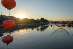 Netto en lantaarn in Hoi An, Vietnam Royalty-vrije Stock Foto's