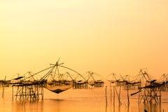Netto landschap van vierkante onderdompeling of YoThai languagemade van bamboe stock foto