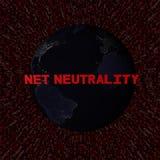 Netto Neutraliteitstekst met aarde 's nachts en de rode illustratie van de hexuitdraaicode Stock Foto