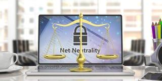 Netto neutralitettext på en datorskärm och en lag graderar jämvikt, suddighetskontorsbakgrund illustration 3d royaltyfri illustrationer