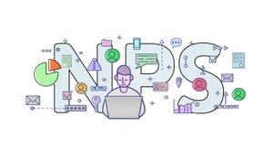 Netto Promotorscore, NPS Conceptenlijst met computergebruiker, brieven en pictogrammen Gekleurde vlakke vectorillustratie op wit Stock Fotografie