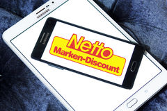 Netto stores logo. Logo of the international chain of convenience stores netto on samsung mobile phone a5 Royalty Free Stock Photo