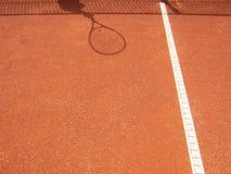 Netto tennisbana och racketskugga 62 Royaltyfri Foto