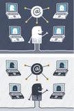 Nettositzung farbige Karikatur Stockfotografie