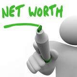 Nettowert Mann-Schreiben fasst Zahl Ihr Anlagegut-Gesamtwert ab Lizenzfreies Stockfoto